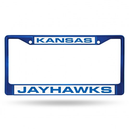 Kansas Jayhawks Laser Colored Chrome License Plate Frame