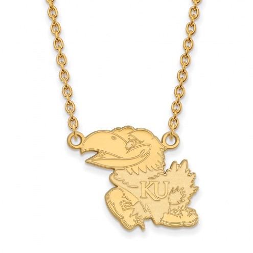 Kansas Jayhawks NCAA Sterling Silver Gold Plated Large Pendant Necklace