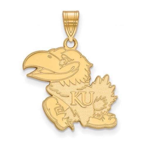 Kansas Jayhawks NCAA Sterling Silver Gold Plated Large Pendant