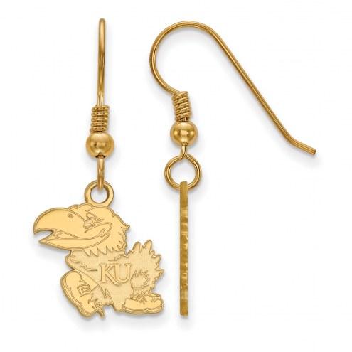 Kansas Jayhawks NCAA Sterling Silver Gold Plated Small Dangle Earrings
