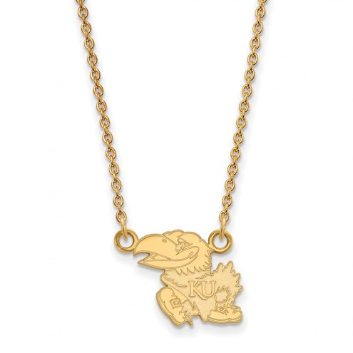 Kansas Jayhawks NCAA Sterling Silver Gold Plated Small Pendant Necklace