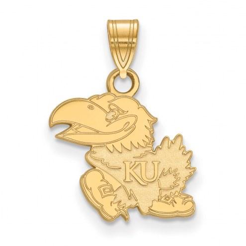 Kansas Jayhawks NCAA Sterling Silver Gold Plated Small Pendant