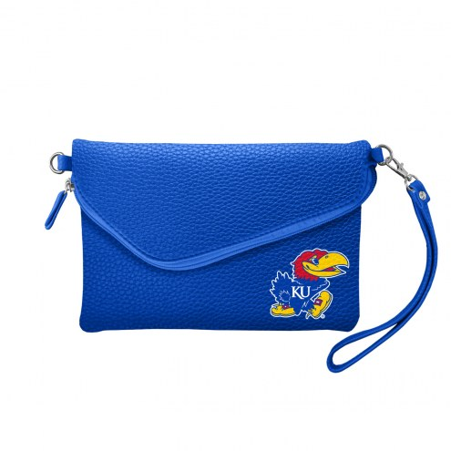 Kansas Jayhawks Pebble Fold Over Purse