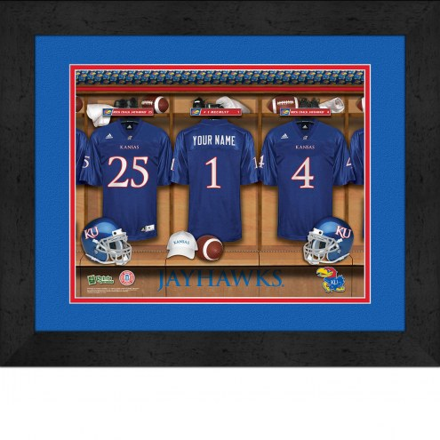 Kansas Jayhawks Personalized Locker Room 13 x 16 Framed Photograph