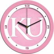 Kansas Jayhawks Pink Wall Clock