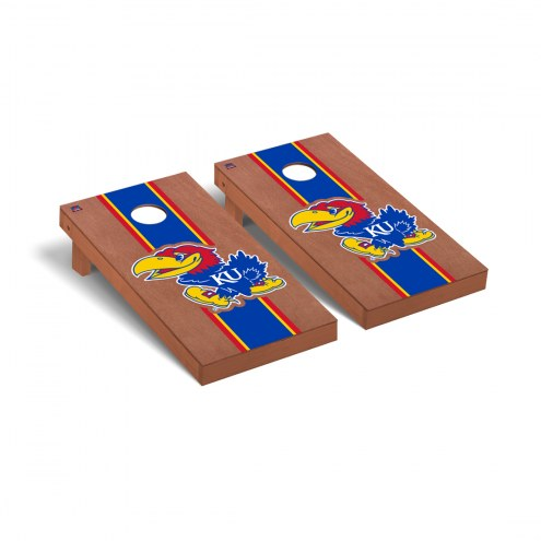 Kansas Jayhawks Rosewood Stained Cornhole Game Set