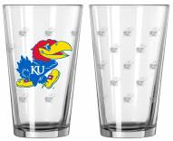 Kansas Jayhawks Satin Etch Pint Glass - Set of 2