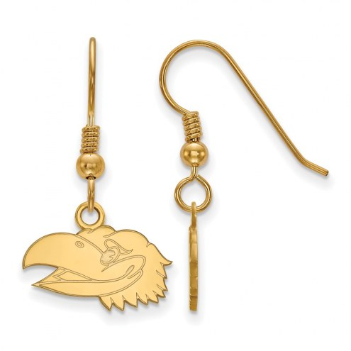 Kansas Jayhawks Sterling Silver Gold Plated Extra Small Dangle Earrings