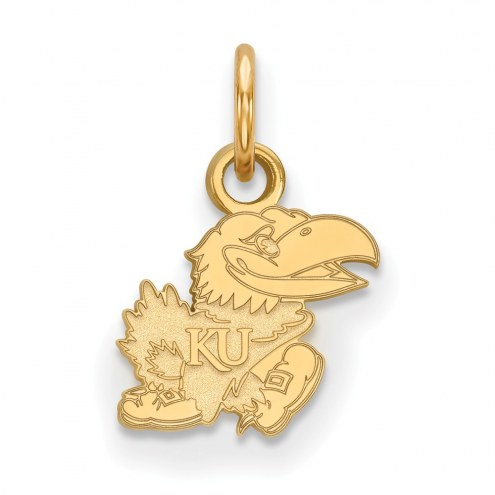 Kansas Jayhawks Sterling Silver Gold Plated Extra Small Pendant