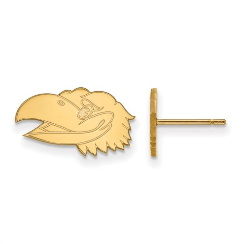 Kansas Jayhawks Sterling Silver Gold Plated Extra Small Post Earrings