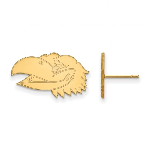 Kansas Jayhawks Sterling Silver Gold Plated Small Post Earrings