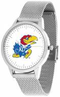 Kansas Jayhawks Silver Mesh Statement Watch