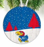 Kansas Jayhawks Snow Scene Ornament