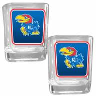 Kansas Jayhawks Square Glass Shot Glass Set