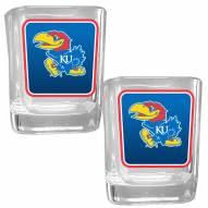 Kansas Jayhawks Square Glass Shot Glass Set