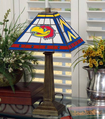 Kansas Jayhawks Stained Glass Mission Table Lamp