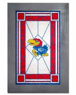 Kansas Jayhawks Stained Glass with Frame