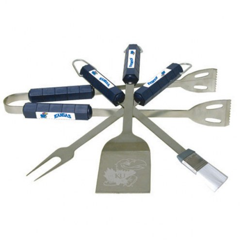 Kansas Jayhawks NCAA 4-Piece Stainless Steel BBQ Set