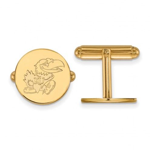 Kansas Jayhawks Sterling Silver Gold Plated Cuff Links