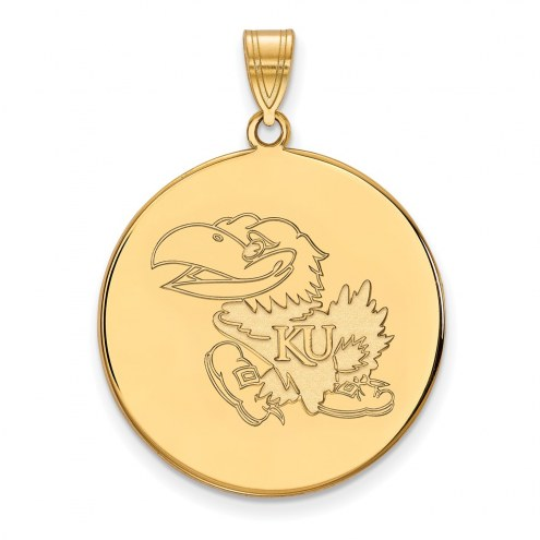 Kansas Jayhawks Sterling Silver Gold Plated Extra Large Disc Pendant