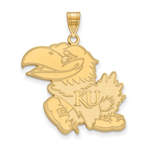 Kansas Jayhawks Sterling Silver Gold Plated Extra Large Pendant