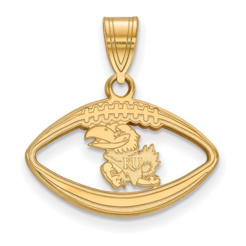 Kansas Jayhawks Sterling Silver Gold Plated Football Pendant