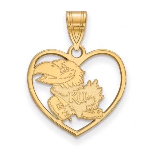 Kansas Jayhawks Sterling Silver Gold Plated Heart Pendant