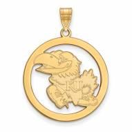 Kansas Jayhawks Sterling Silver Gold Plated Large Circle Pendant