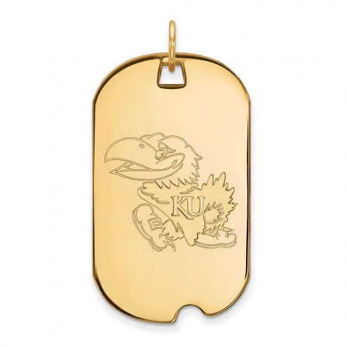 Kansas Jayhawks Sterling Silver Gold Plated Large Dog Tag