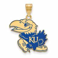 Kansas Jayhawks Sterling Silver Gold Plated Large Enameled Pendant