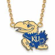 Kansas Jayhawks Sterling Silver Gold Plated Large Pendant Necklace