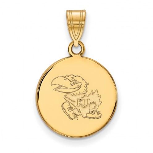 Kansas Jayhawks Sterling Silver Gold Plated Medium Disc Pendant