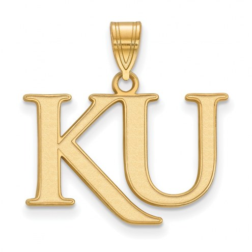 Kansas Jayhawks Sterling Silver Gold Plated Medium Pendant