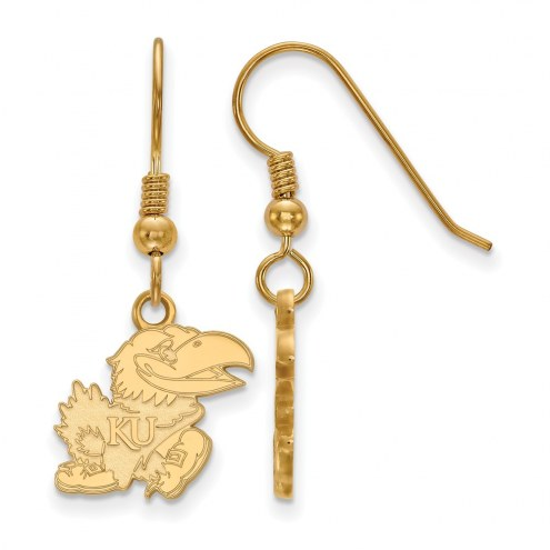 Kansas Jayhawks Sterling Silver Gold Plated Small Dangle Earrings