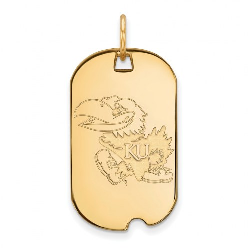 Kansas Jayhawks Sterling Silver Gold Plated Small Dog Tag