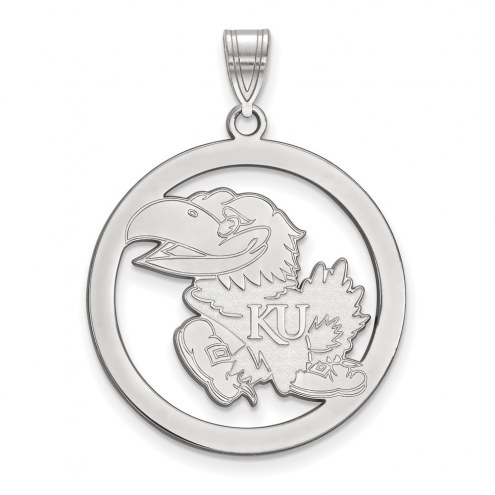 Kansas Jayhawks Sterling Silver Large Circle Pendant