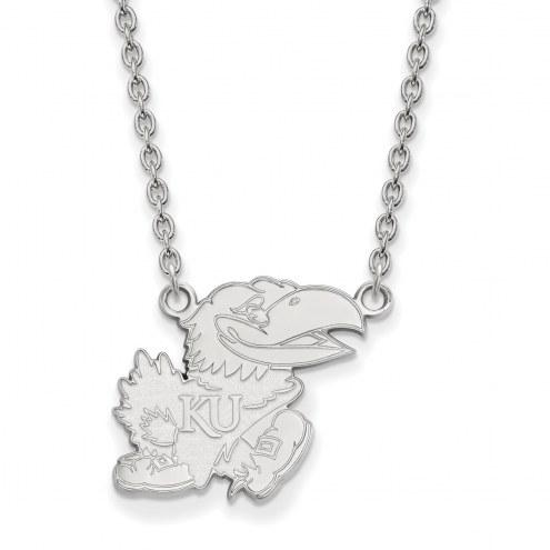 Kansas Jayhawks Sterling Silver Large Pendant Necklace