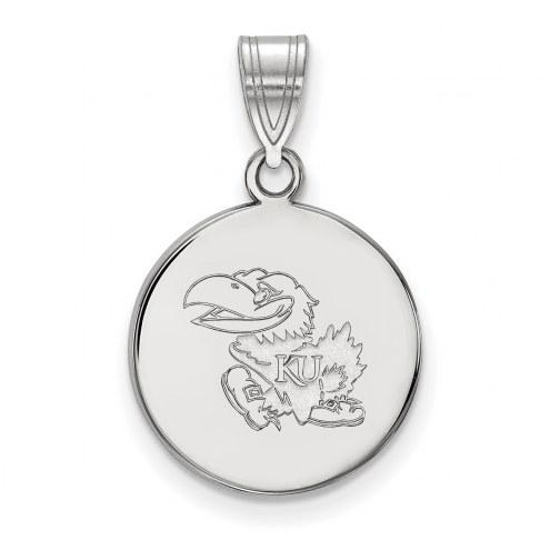 Kansas Jayhawks Sterling Silver Medium Disc Pendant