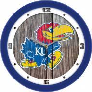 Kansas Jayhawks Weathered Wood Wall Clock