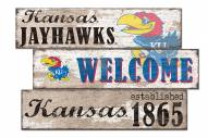 Kansas Jayhawks Welcome 3 Plank Sign