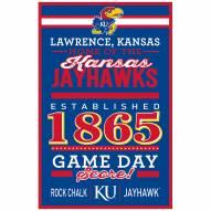 Kansas Jayhawks Established Wood Sign