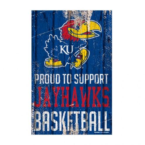 Kansas Jayhawks Proud to Support Wood Sign