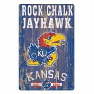 Kansas Jayhawks Slogan Wood Sign