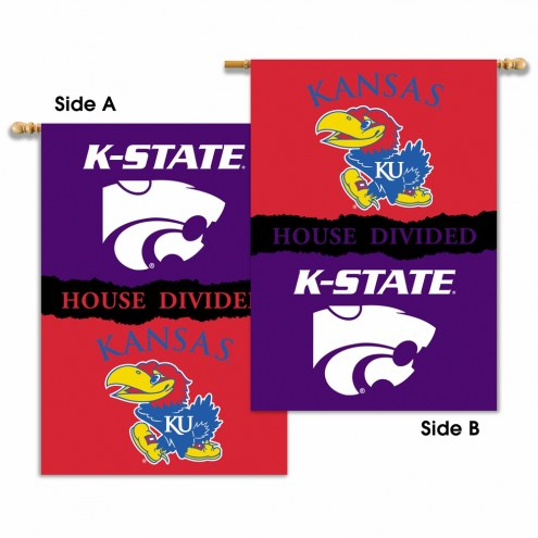 Kansas/Kansas State 2-Sided House Divided Banner