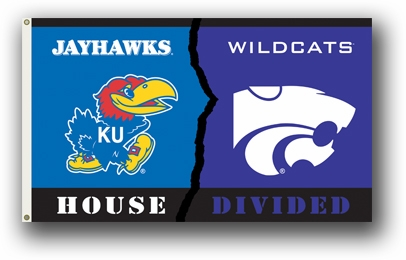 Kansas / Kansas State Premium Rivalry House Divided 3' x 5' Flag