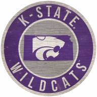 """Kansas State Wildcats 12"""" Circle with State Sign"""