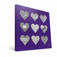 "Kansas State Wildcats 12"" x 12"" Hearts Canvas Print"