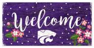 """Kansas State Wildcats 6"""" x 12"""" Floral Welcome Sign"""