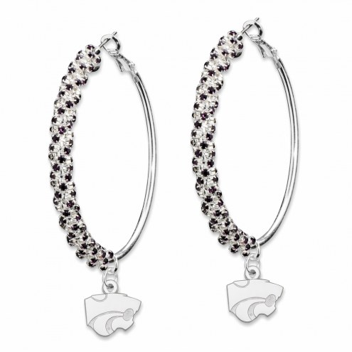 Kansas State Wildcats Amped Logo Crystal Earrings