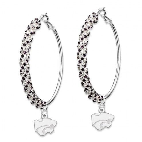 Kansas State Wildcats Amped Logo Crystal Earrings